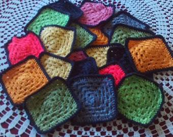 20 granny,squares,crocheted,blankets,clothing,babies,crafts,afghans,lapghans,donations,yarn,fiber,supplies