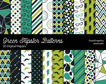 """Green Hipster Patterns, 20 Digital Papers (12""""x12""""), Photoshop Pattern File .PAT Included, Seamless, Commercial Use INSTANT DOWNLOAD"""