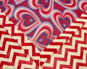 Baby Blanket Fleece Hearts and Chevron Minky