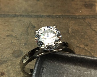 Engagement Ring, Diamond Engagement Ring, CZ Engagement Ring, CZ Solitaire Ring, Diamond Solitaire Ring,  Promise Ring