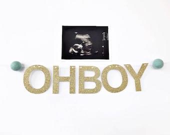 Oh Boy Banner / Gender Reveal Banner / Gender Reveal Party / Bassinet Banner / Baby Boy Announcement Photo Banner / Oh Boy / Baby Shower
