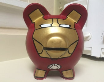 Marvel Iron Man Superhero Avengers Hand Painted Ceramic Piggy Bank Medium