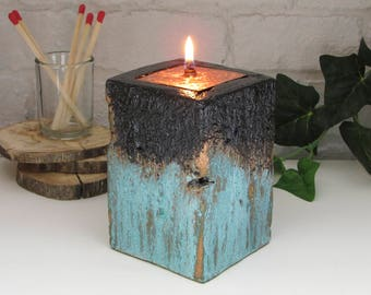 Oil Candle - GRAY Cement base - Black with opper verdigris patina, woodgrain texture and engraved copper Inset