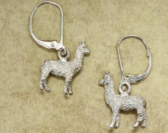 Alpaca Earrings, 925 Sterling Silver Huacaya Alpaca Earrings