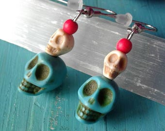 Turquoise Skull Earrings