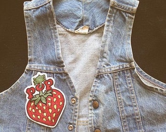 SALE! Large Pop Magazine hand embroidered strawberry patch