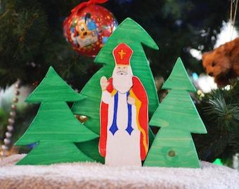St Nicholas Figurine, St Nicholas Home Decor, Wooden Santa Claus, Saint Nick, Christmas Decorations Set, Waldorf Ornaments Set