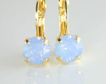 Blue opal earrings,swarovski air blue opal earrings,swarovski earrings,gold crystal earrings,leverback earrings,opal earrings,light blue