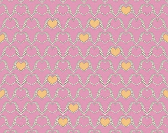 Riley Blake Zombie Love Hearts Pink Cotton Woven