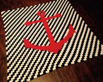 Nautical Baby Blanket - C2C Crochet Pattern - Nursery Gift - Anchor Blanket - Easy to Crochet