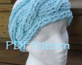 CROCHET PATTERN -Twisted Cables Headband - Without Button - (PDF File)