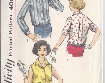 Vintage Simplicity Sewing Pattern  2733 from 1958   Misses Overblouse   Bust 36