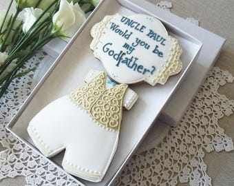 Personalised Would you be my Godfather Biscuit gift box  - Gift for Godfather - christening biscuits - baptism biscuits