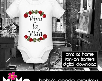 PRINTABLE - Letter size - Frida Kahlo - Viva la Vida 2 - DIY - T-Shirt - Iron on transfer file – Jpg/Png 300dpi.