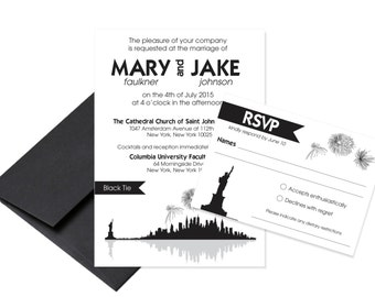 New York City Skyline Wedding Invitation / NYC Invitation / Skyline Invitation