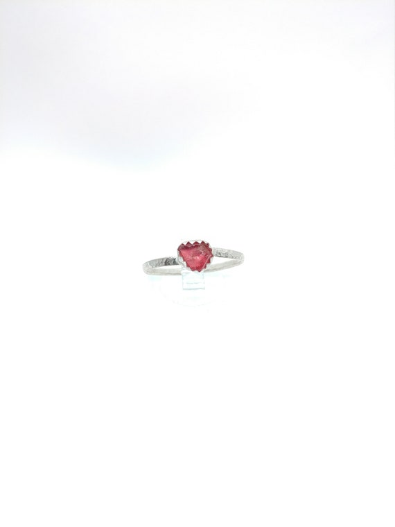 Hot Pink Spinel Ring   Sterling Silver Ring Sz 9.5   Raw Spinel Ring   Pink Crystal Ring   UV Reactive   Rough Spinel Jewelry   Steampunk