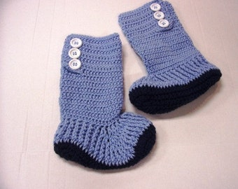 Hand Crochet Hightop Fireside Slipper Boots for Adults & Teens by kams-store.com