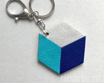 Geometric bag charm / keychain 3D Hexagon ( the CUBE ) made from turquoise, blue and silver leather. Gift under 20