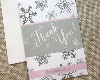 Baby Its Cold Outside Shower, Snowflake Baby Shower Thank You Card Set, Winter Shower Thank You Card, Little Snowflake Is On the Way