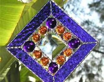 Stained Glass Sun Catcher, Blue Stained Glass Suncatcher, Sun-Catcher, Glass Art, Nuggets and Center Bevel, Glass Suncatchers, 9705-BL