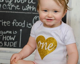 """Gold Glitter Iron-On vinyl cursive heart """"one"""" lettering for yearly, monthly, or birthday onesie- Heart and Lettering ONLY"""