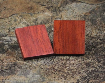Square Bloodwood Earrings - The Spalted Gem - FREE SHIPPING
