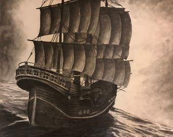 Original Pencil Ship Drawing