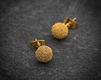 Gold Studs, Gold Earrings, Gold Granulation Studs, Round Ball Stud Earrings, Everyday Earrings, Simple Studs, Gold Vermeil