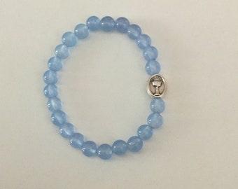 Boys Religious Bracelet, Boys First Communion Bracelet, Blue Glass with First Communion Metal Bead. FREE SHIPPING