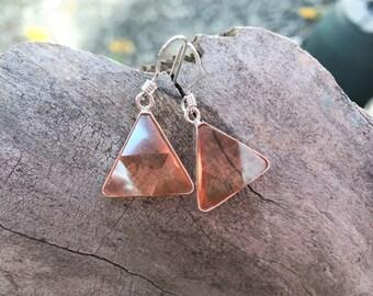 Tangerine  Aura - Marcel Vogel Earrings - set in Sterling Silver - A Grade !  Powerful