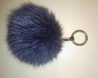 Keychain ! Real Fur pom pom!