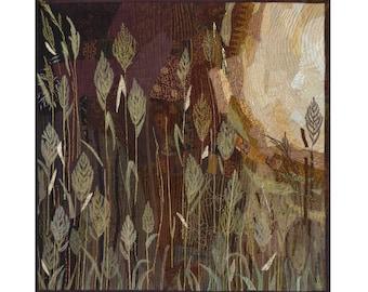 Summer field Large art quilt Landscape quilt Golden spikes Quilted picture Warm evening Sunlight Grass Nature wall art Textile wall hanging