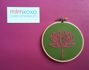 "Embroidery KIT by mlmxoxo.  Lotus.  modern embroidery kit.  floral motif.  beginner embroidery.  flower.  4"" hoop art hand embroidery kit."