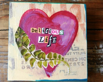 Delicious Life Small Wood Collage