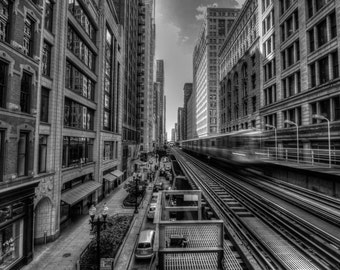 "Train's Leaving - Chicago - Elevated Train - ""L"" - Mass Transit - CTA - Cityscaping - HDR"