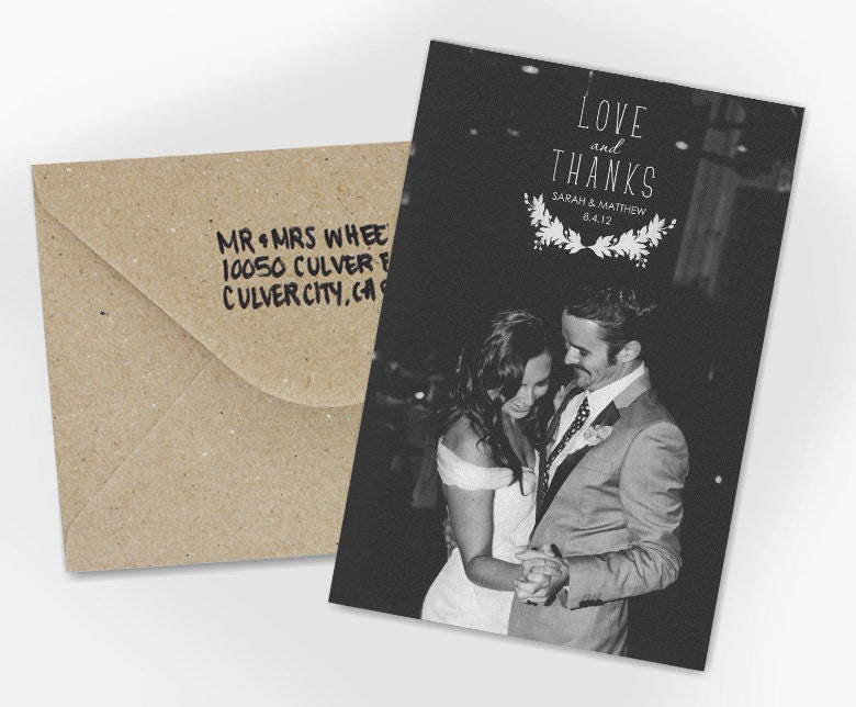 Wedding Thank You Card Love and Thanks