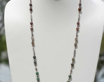 Lanyard -- Beaded lanyard -- Earth-tone natural cord -- Badge holder -- Professional:  Agate Rounds with Metal Elements (Model 250)
