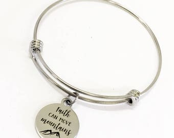 Christian Jewelry Gifts, Faith Can Move Mountains Bracelet, Stacking Bracelet, Motivational Gifts, Encouraging Gifts For Her, Daughter Gift