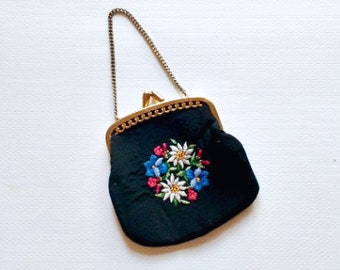 Vintage Coin Purse . Small Embroidered Petit Point Black Coin Purse
