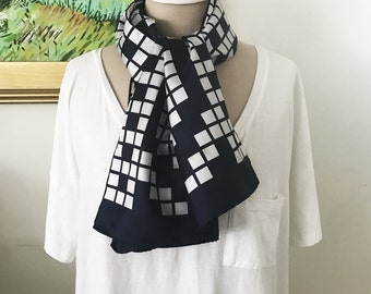 Fisba Stoffels Retro Patterned Scarf From Harrods. 100% Polyester Navy and White Geometric Mod Retro Head Wrap 1960s Long Style