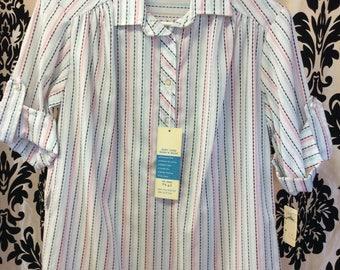 1950's DEADSTOCK WHite striped blouse