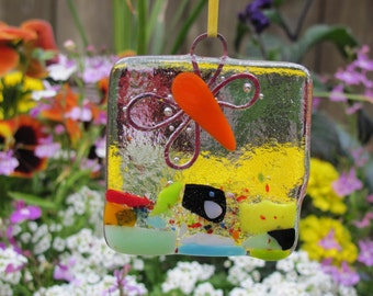 Fused Glass 2 & 1/2 inch Butterflies: ornaments or suncatchers