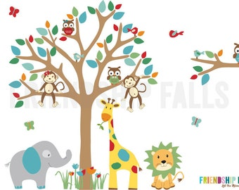 Jungle Decals, Jungle Wall Decals, Nursery Wall Decal, Giraffe, Elephant, Lion, Balloon Friends Inspired, Friendship Falls wall decal