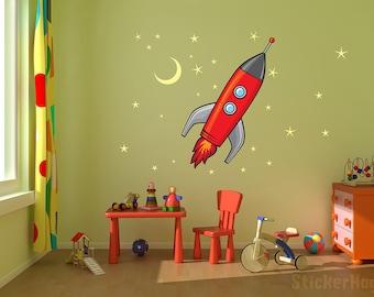 "Rocket Ship, Stars and Moon kids room, nursery vinyl wall decal graphics 22x25"""