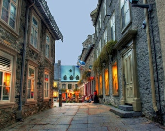 Quebec City: Dusk View of Lower Town Shops ver. 3