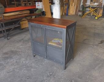 Upright Industrial Steel & Walnut Record Stand/Liqour Cabinet