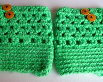 Crocheted Ladies/Teens Boot Cuffs, Boot Socks, Leg Warmers, Socks & Hosiery- Green Reflective w/ Buttons