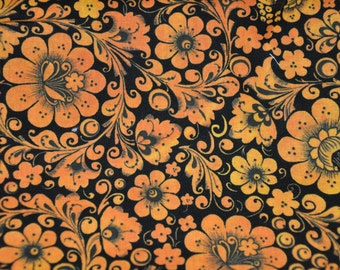 Black & Orange Patchwork Orange Floral Abstract Expression 100% Cotton Quilt Fabric by Legacy Studio