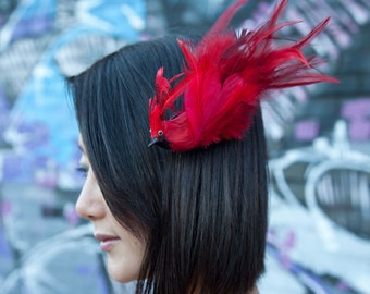 Red Bird Fascinator - Red Feather Cardinal