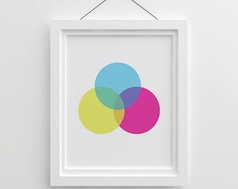 Abstract Printable Art, Colorful Pink Nursery Wall Art, Gallery Wall Large Prints Scandinavian Nursery Geometric Print, Abstract Wall Art
